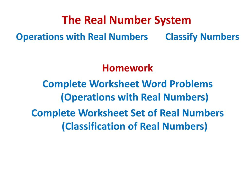 The Real Number System Opening Routine. - ppt download