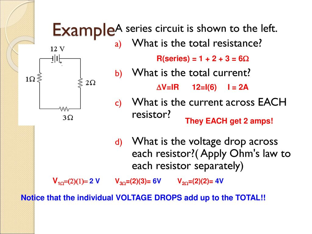Electric Circuits Ap Physics B Ppt Download Total Resistance In A Series Circuit Example Is Shown To The Left