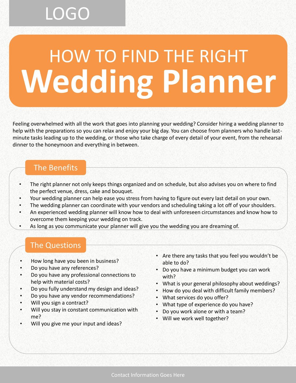 Wedding Planner LOGO HOW TO FIND THE RIGHT The Benefits The ...