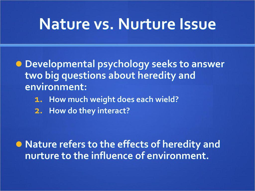nature vs nurture questions answers