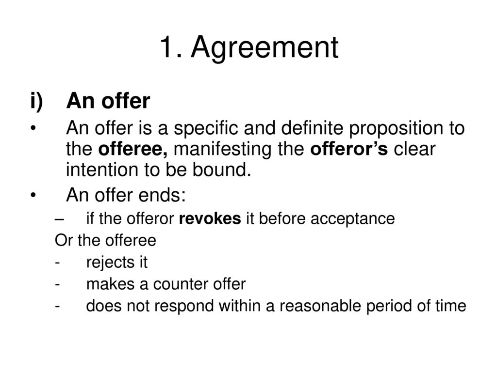 specific offer in contract law