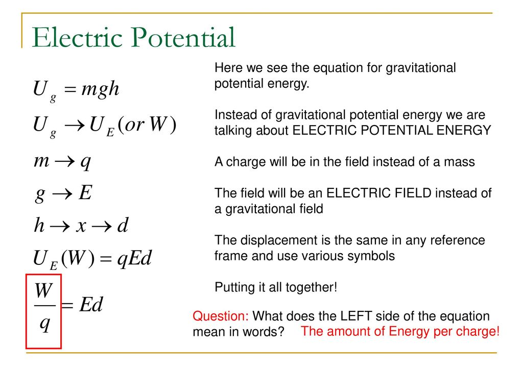 Electrical Energy Potential And Capacitance Ppt Download