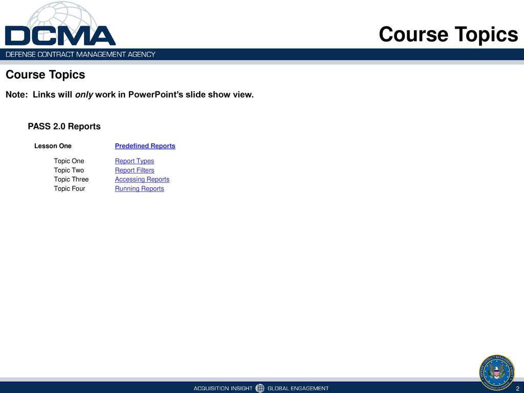 Course Topics Course Topics Pass 2 0 Reports Ppt Download