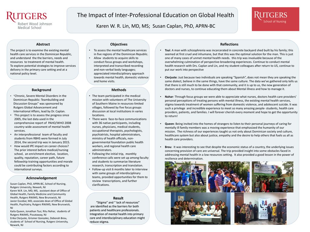 The Impact Of Inter Professional Education On Global Health Ppt
