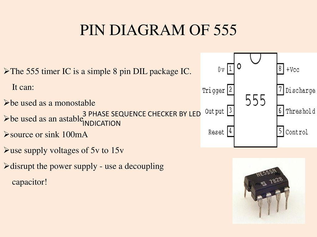 3 Phase Sequence Checker By Led Indication Ppt Download 555 Fast Reset Timer Pin Diagram Of The Ic Is A Simple 8 Dil Package