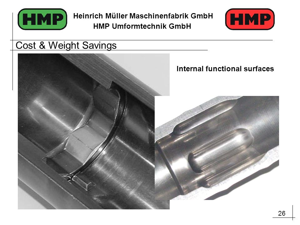 Cost & Weight Savings Internal functional surfaces