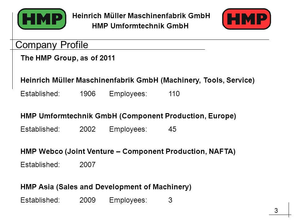 Company Profile The HMP Group, as of 2011