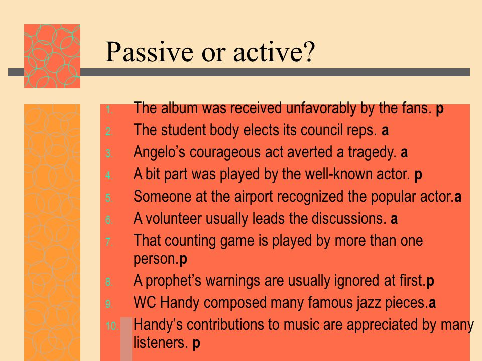 Passive or active The album was received unfavorably by the fans. p
