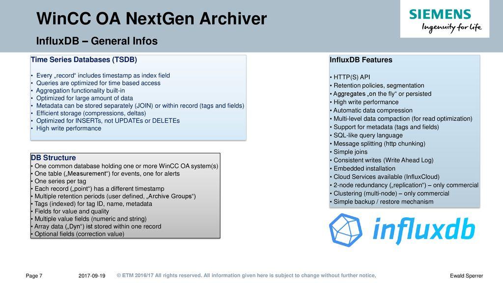 WinCC OA NextGen Archiver: OSS Database selection process