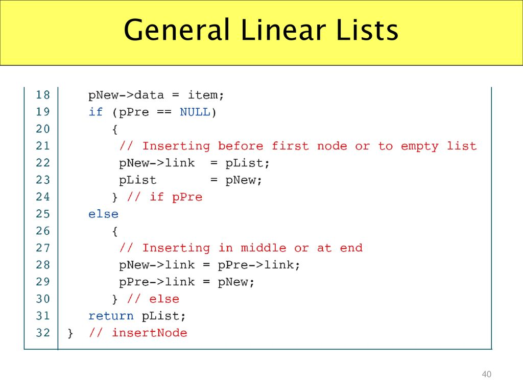 General Linear Lists