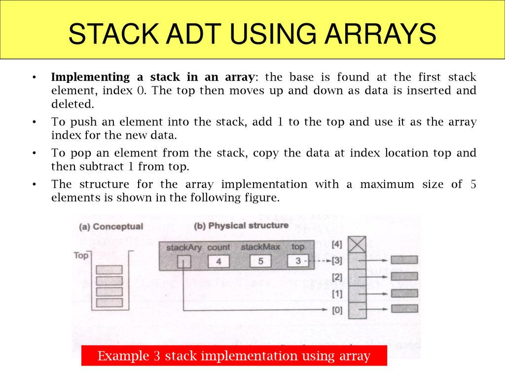 Example 3 stack implementation using array