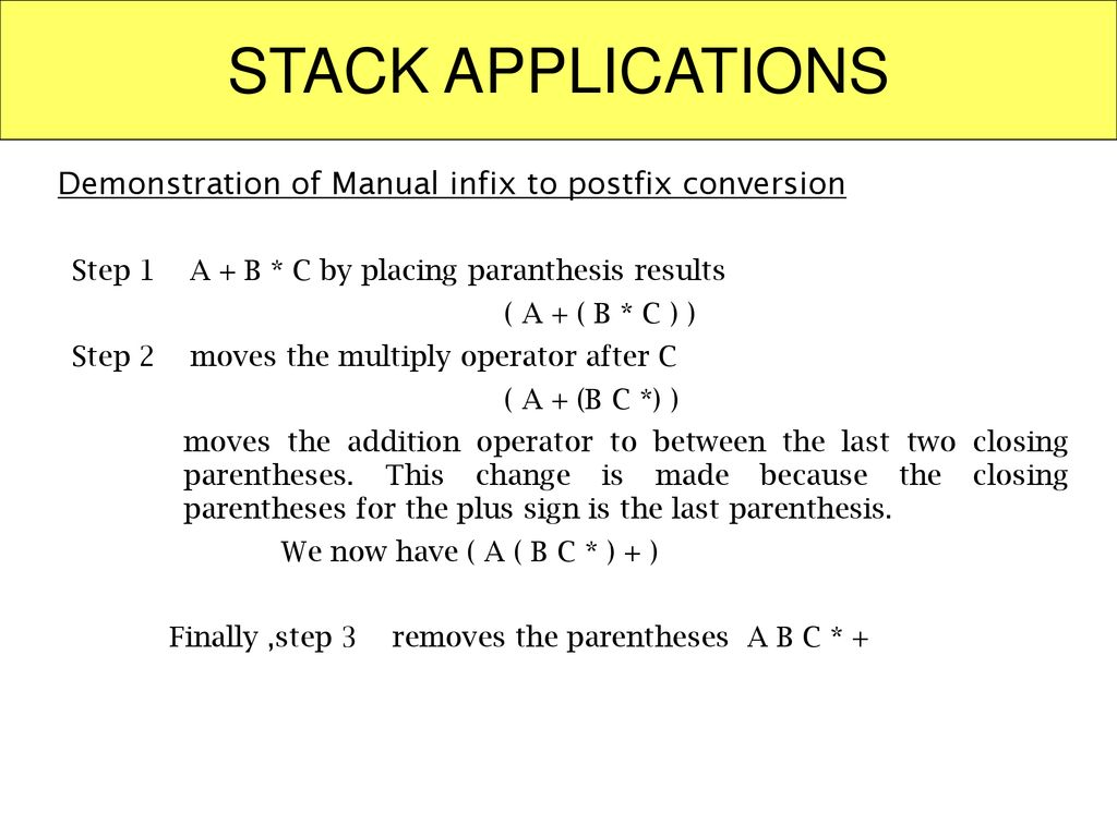 STACK APPLICATIONS Demonstration of Manual infix to postfix conversion