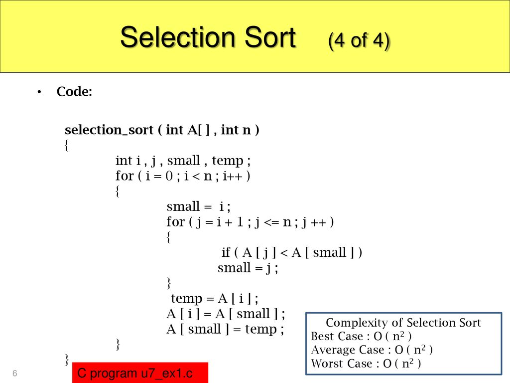 Complexity of Selection Sort