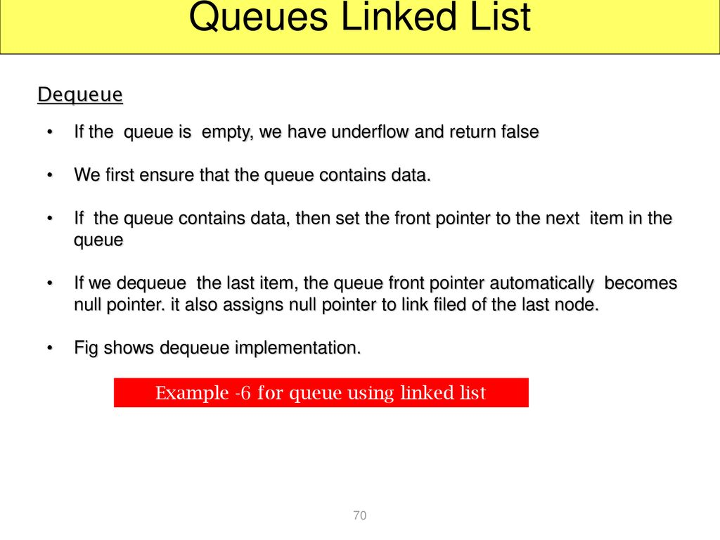 Example -6 for queue using linked list