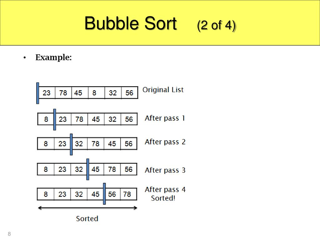 Bubble Sort (2 of 4) Example: 8