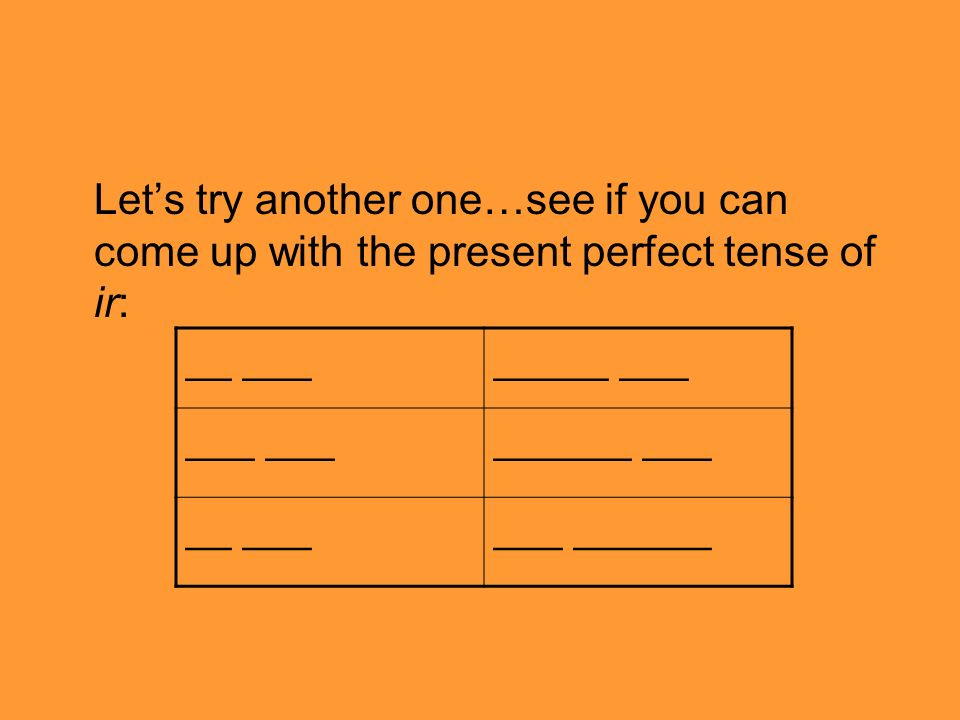 Let's try another one…see if you can come up with the present perfect tense of ir: