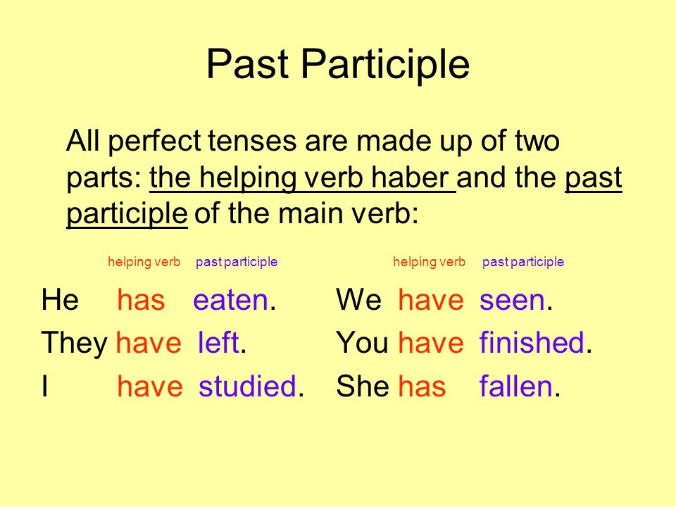 Past Participle All perfect tenses are made up of two parts: the helping verb haber and the past participle of the main verb: