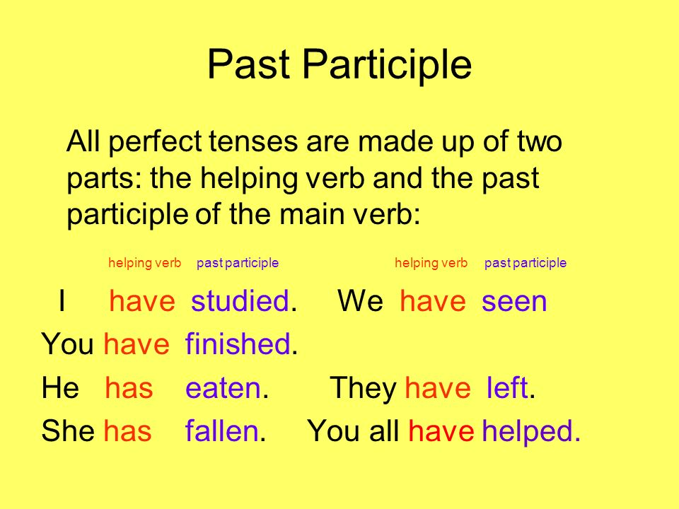 Past Participle All perfect tenses are made up of two parts: the helping verb and the past participle of the main verb: