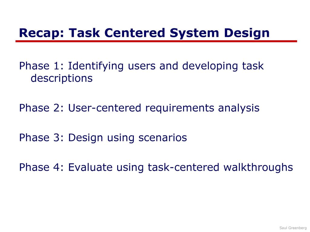 Task Centered System Design Walkthrough Ppt Download