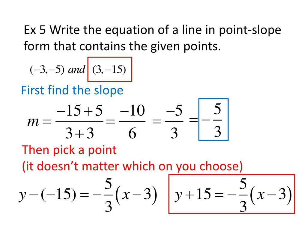 point slope form ex  13.13 Writing Equations in Point-Slope Form - ppt download
