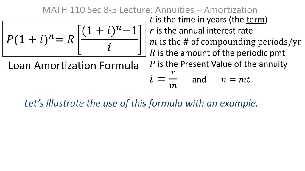 math 110 sec 8 5 lecture annuities amortization ppt download