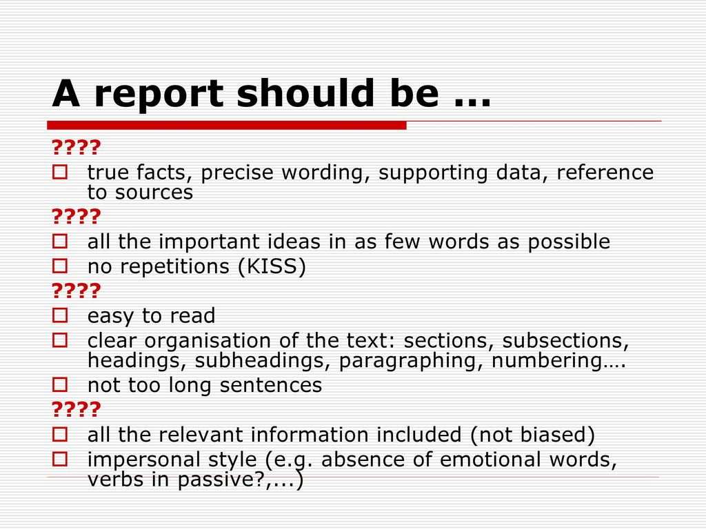 words used in report writing