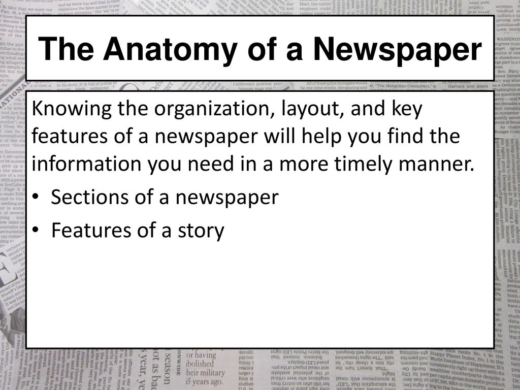The Anatomy of a Newspaper - ppt download