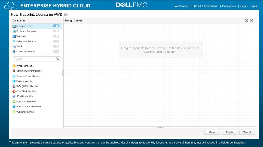 Enterprise hybrid cloud ppt download and continue on to the design canvas to configure the blueprint s vm malvernweather Gallery