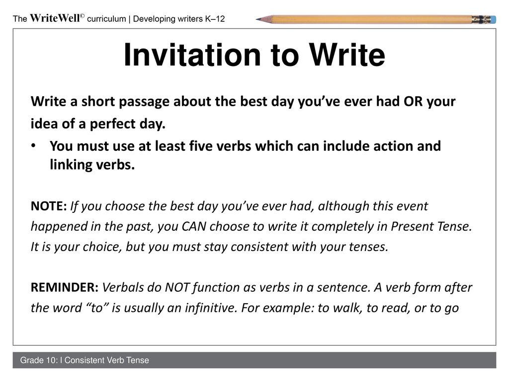 Consistent verb tenses ppt download 6 invitation stopboris Images
