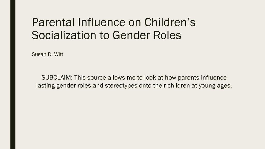 parental influence on childrens socialization to gender roles