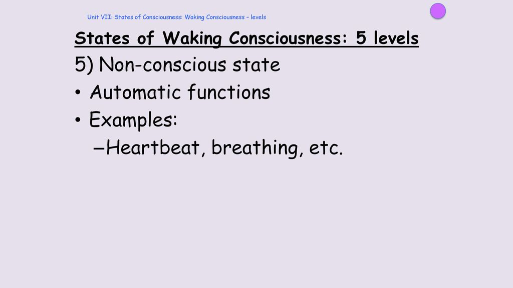 Unit VII: States of Consciousness: background - ppt download