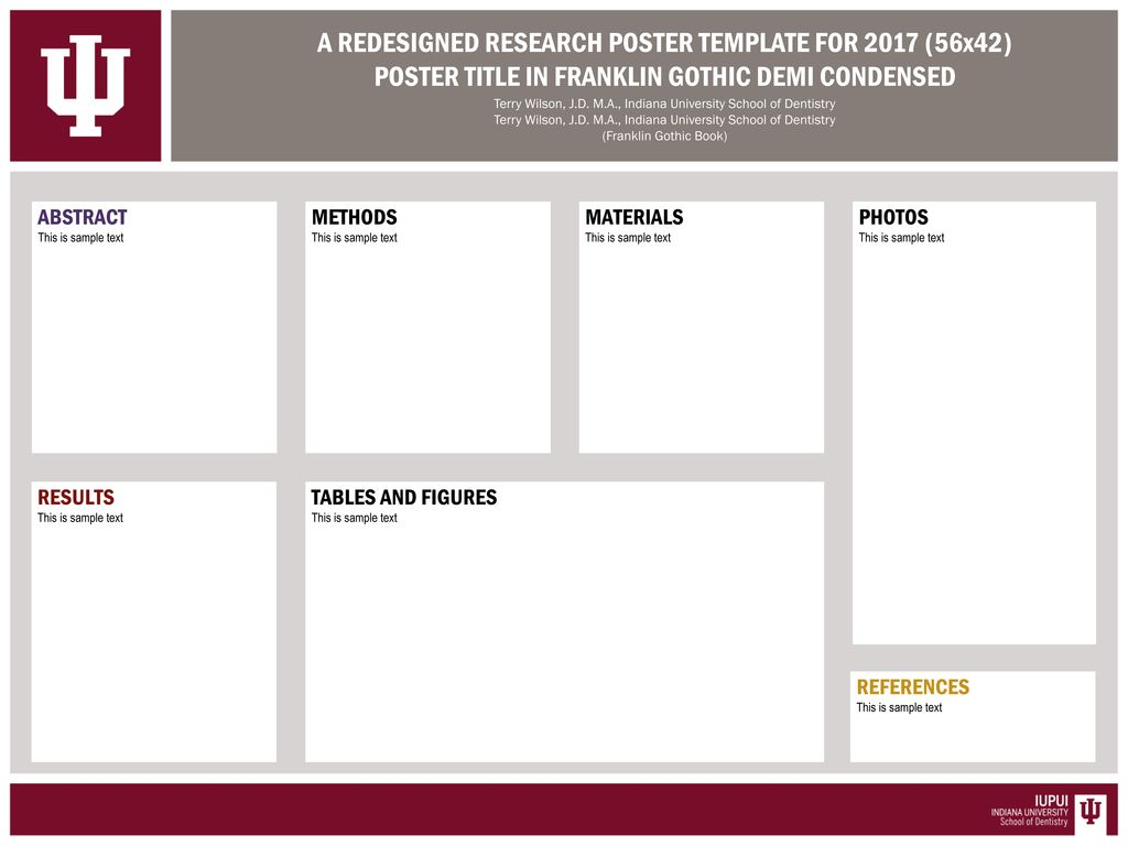 A REDESIGNED RESEARCH POSTER TEMPLATE FOR 2017 (56x42
