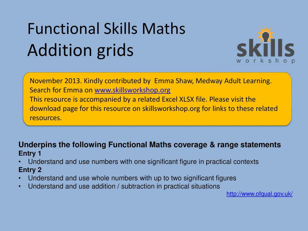Functional Skills Maths Addition Grids Ppt Download