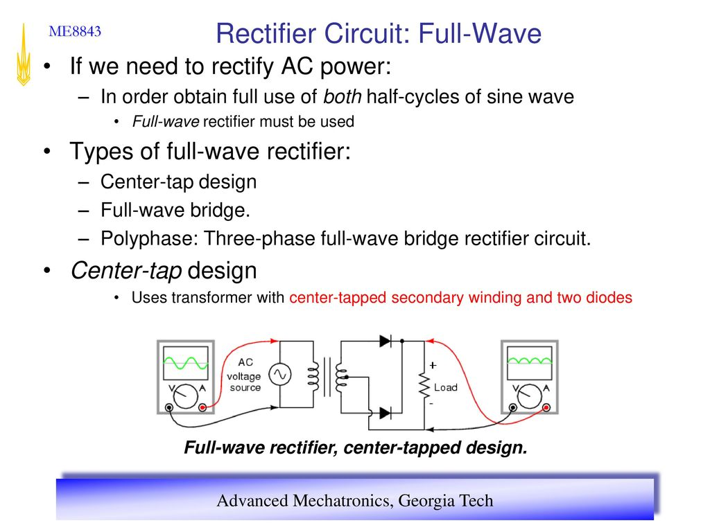 Advanced Mechatronics Ppt Download Full Wave Rectification Circuit Rectifier