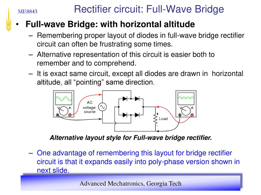 Advanced Mechatronics Ppt Download Full Wave Bridge Rectifier Circuit