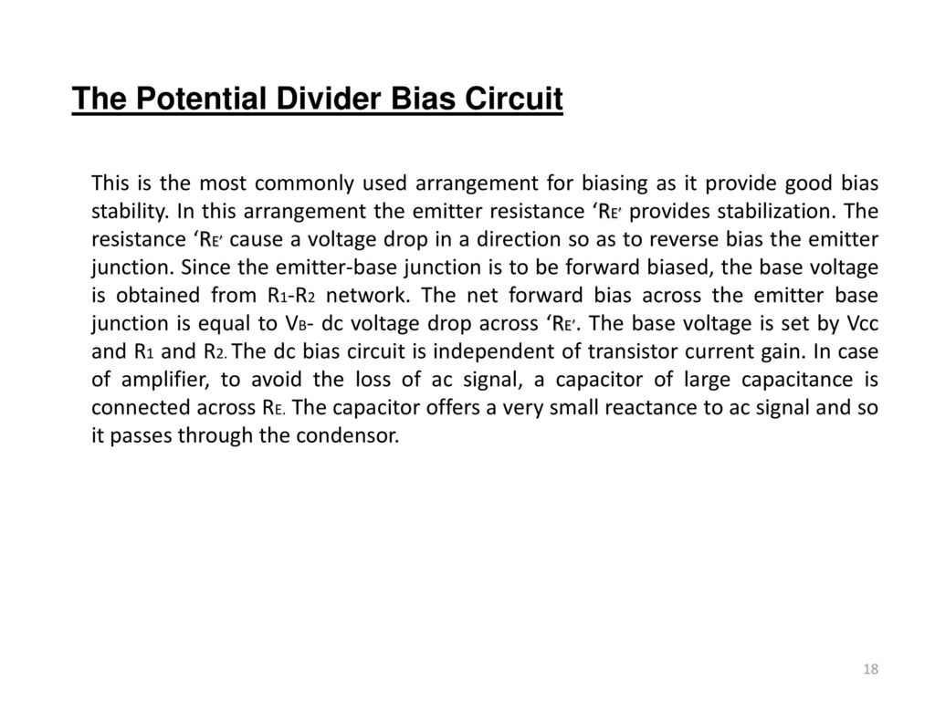 15a04301 Electronic Devices And Circuits Ppt Download Potential Divider Circuit The Bias