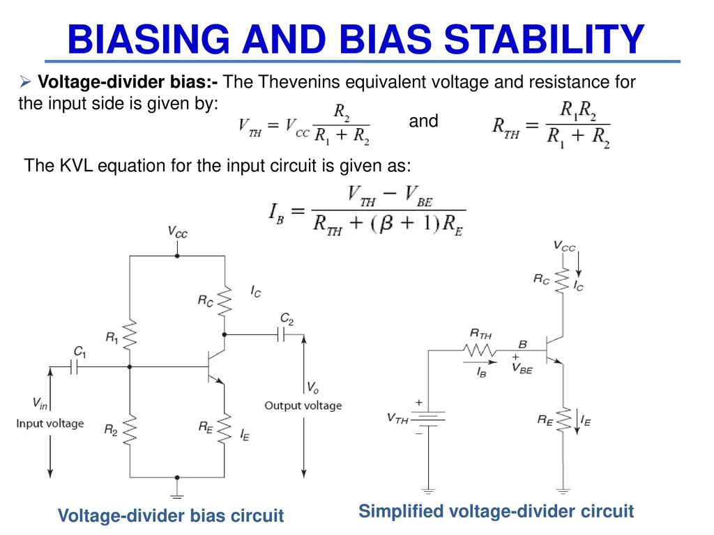 15a04301 Electronic Devices And Circuits Ppt Download The Potential Voltage Divider Bias 25 Biasing Stability Thevenins