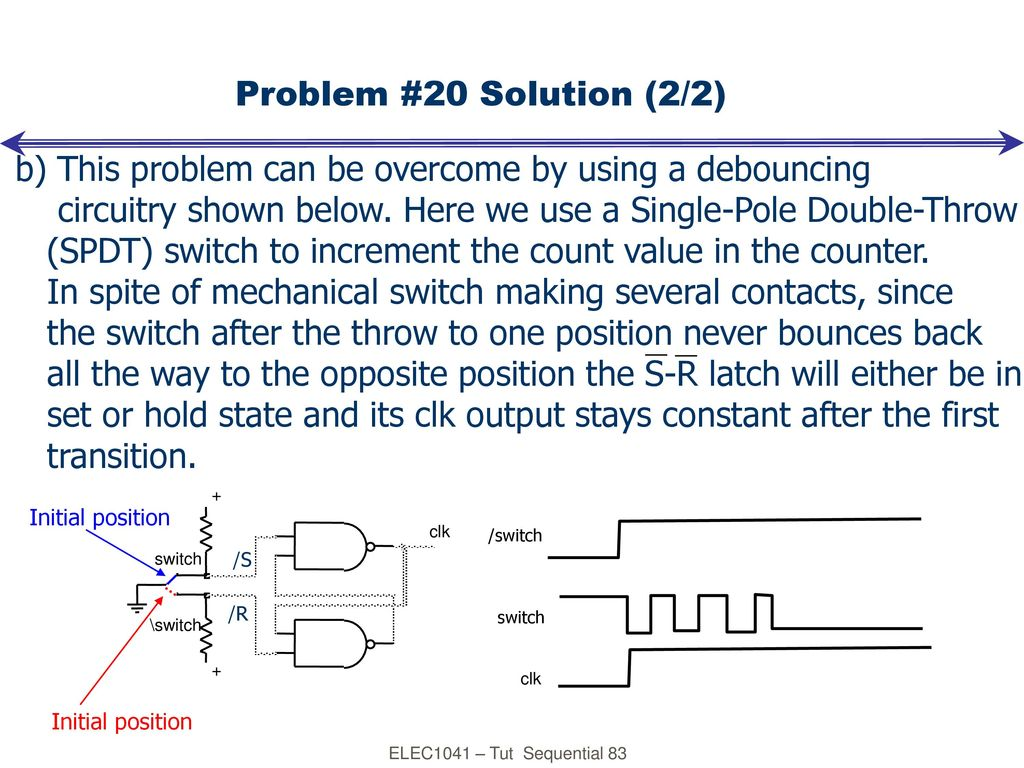 Digital Electronics Tutorial Sequential Logic Ppt Download Debouncing Circuit B This Problem Can Be Overcome By Using A