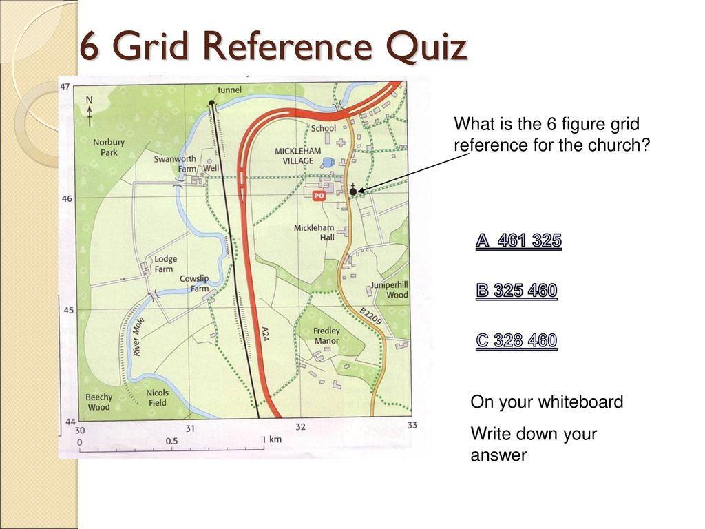 6 Grid Reference Quiz What Is The 6 Figure Grid Reference For The Church A B