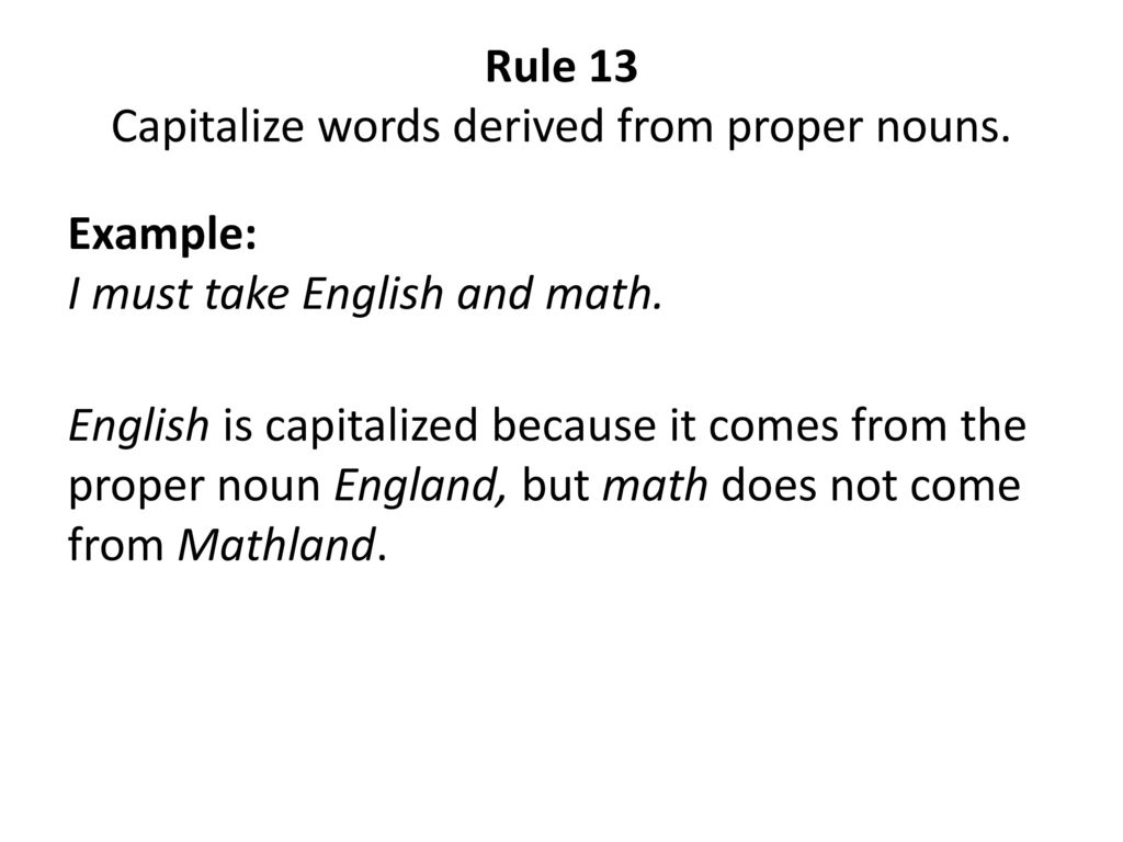 Capitalization Rules. - ppt download