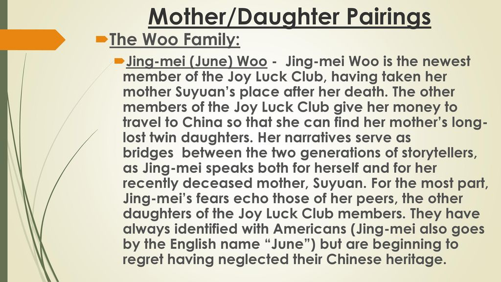 what other name does jing mei woo go by