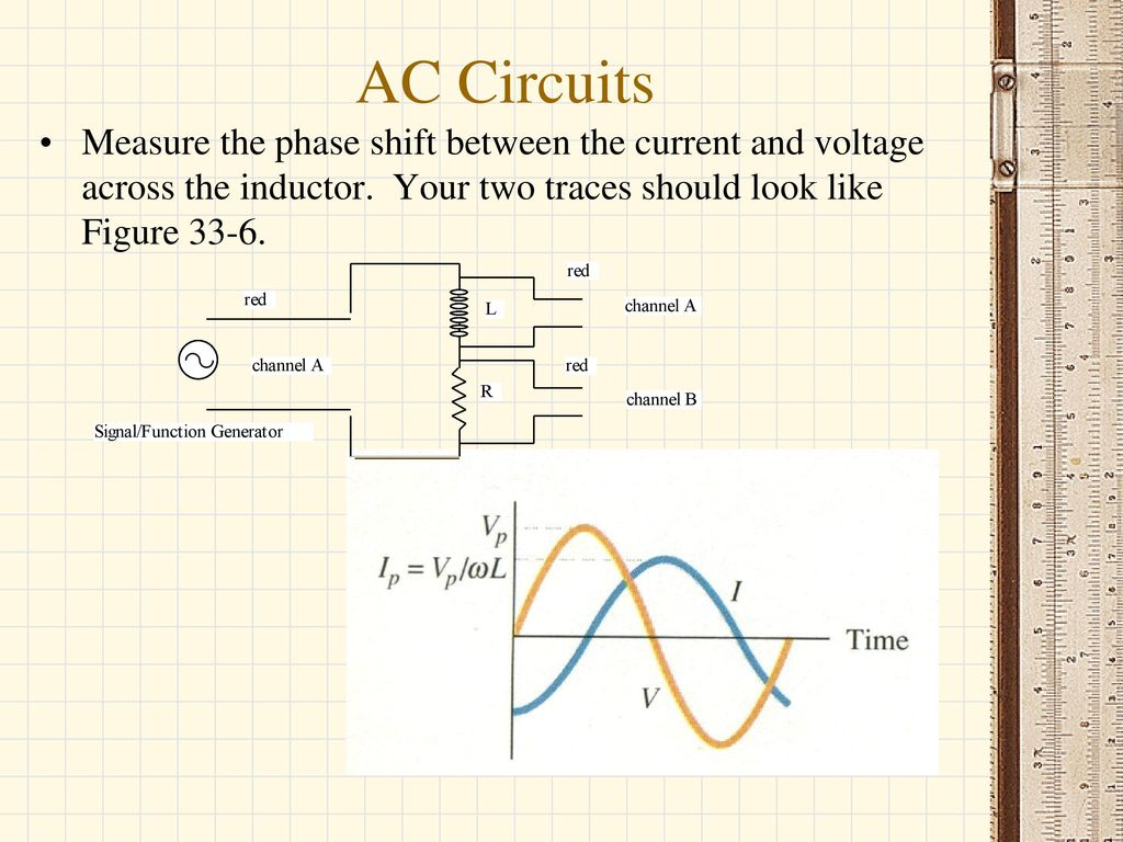 Ac Circuits Current Peak To And Rms Capacitive Reactiance Simple Signal Generator For Tracing Circuit Diagram Measure The Phase Shift Between Voltage Across Inductor