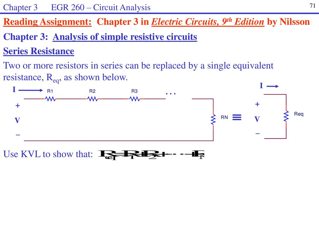 Egr 260 Circuit Analysis Welcome To Syllabus Homework Web Page Ppt Resistors What Is The Equivalent Resistance Of Below Chapter 3