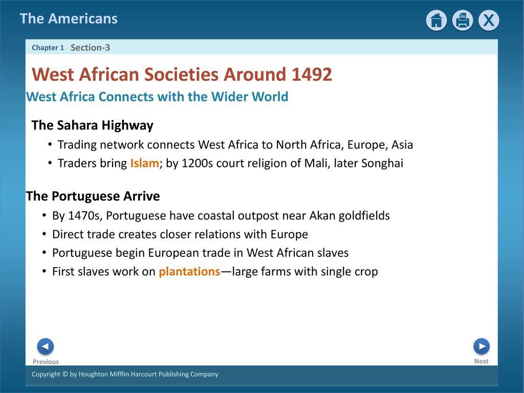 west african societies around 1492 quizlet