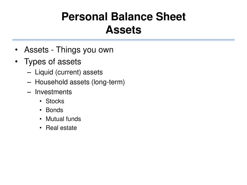 personal finance balance sheet ppt download