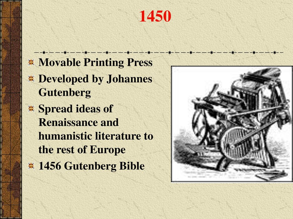 European Timeline Ppt Download Johannes Gutenberg Printing Press Diagram 1450 Movable Developed By