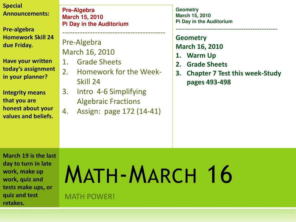 Special Announcements: Pre-algebra Homework Skill 24 due
