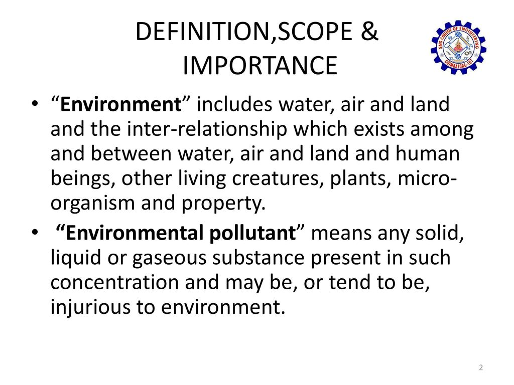 definition scope and importance of environment