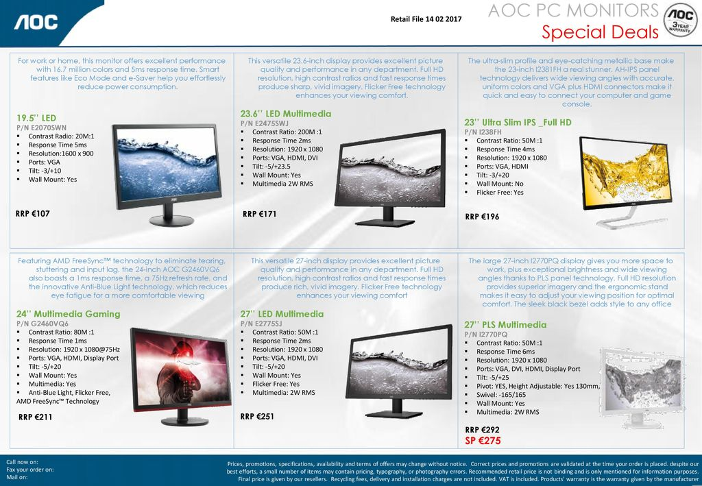 AOC PC MONITORS Special Deals SP € '' LED 23 6'' LED Multimedia