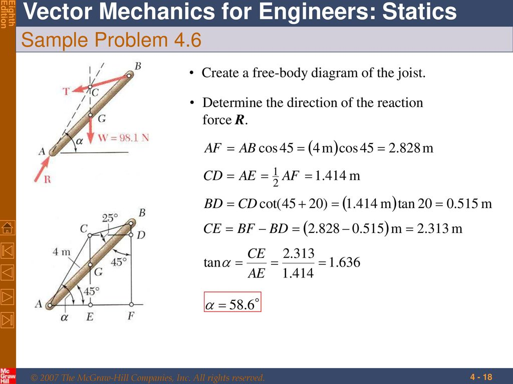 Equilibrium Of Rigid Bodies Ppt Download Engineering Statics Problem Solutions Free Body Diagram Sample 46 Create A The Joist